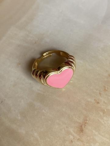 Кольцо Лавли розовое, позолота