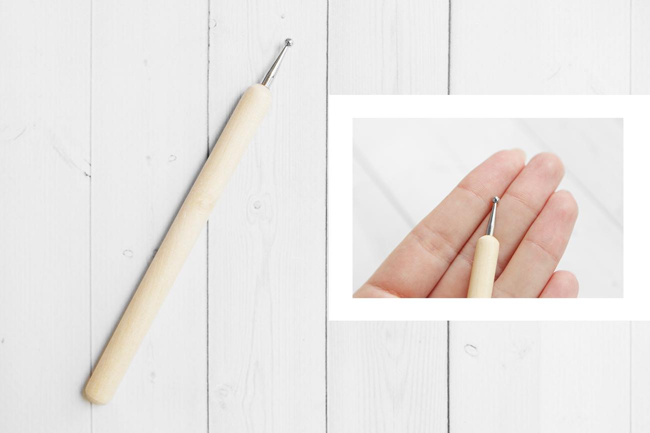 Стек - булька с деревянной ручкой, 4 мм, односторонняя