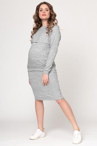 Костюм для беременных и кормящих 12295 серый меланж