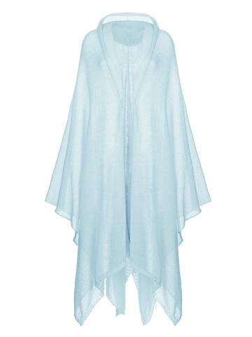 Женский шарф голубого цвета из мохера и шерсти - фото 1