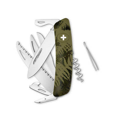 Швейцарский нож SWIZA D09 Camouflage, 95 мм, 13 функций, камо зеленый