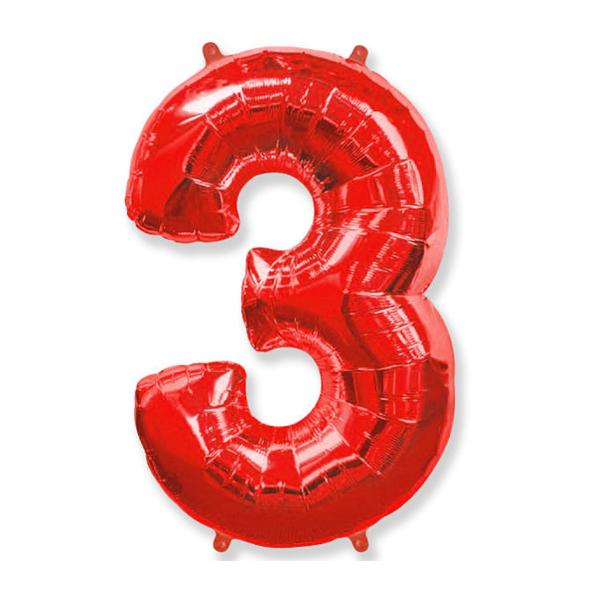Фольгированная цифра 3, красный