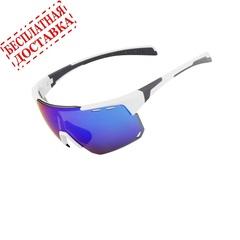 Очки солнцезащитные XQ546, (белый глянец / синие revo) +3 доп. линзы