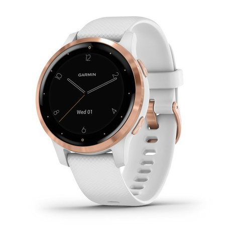 Garmin Vivoactive 4s - Rose Gold Stainless Steel Bezel with White Case and Silicone Band