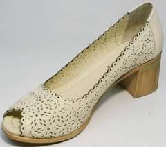 Открытые туфли на толстом каблуке женские летние Sturdy Shoes 87-43 24 Lighte Beige.