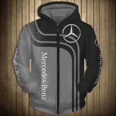 Толстовка утепленная с молнией 3D принт, Mercedes-Benz (3Д Теплые Худи с молнией Мерседес-Бенц) 02