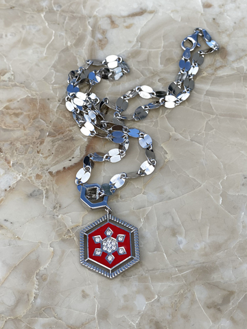 Necklace in silver with red enamel
