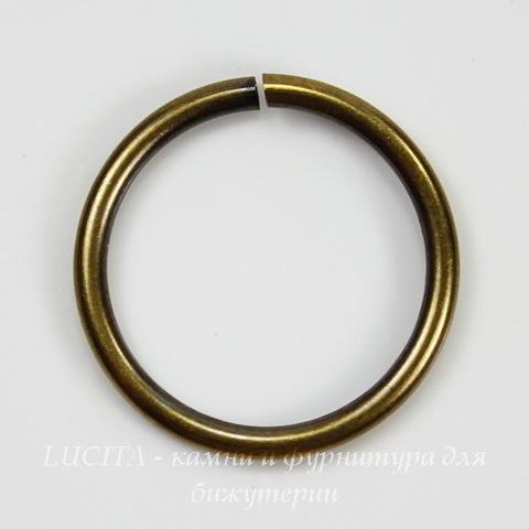 Винтажное колечко одинарное 20х1,8 мм (оксид латуни)