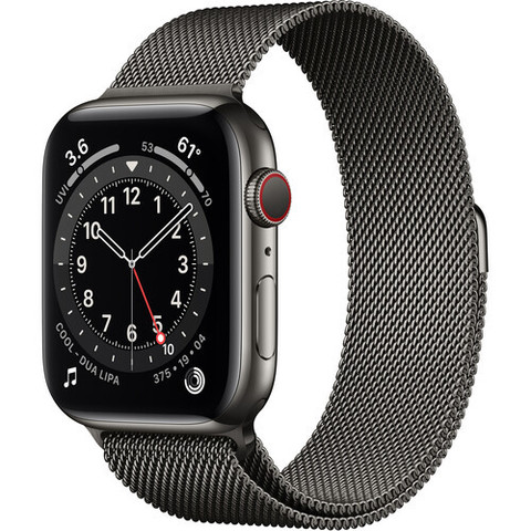 Часы Apple Watch Series 6 GPS + Cellular 44mm Stainless Steel Case with Milanese Loop (Graphite) (M07R3,M09J3)