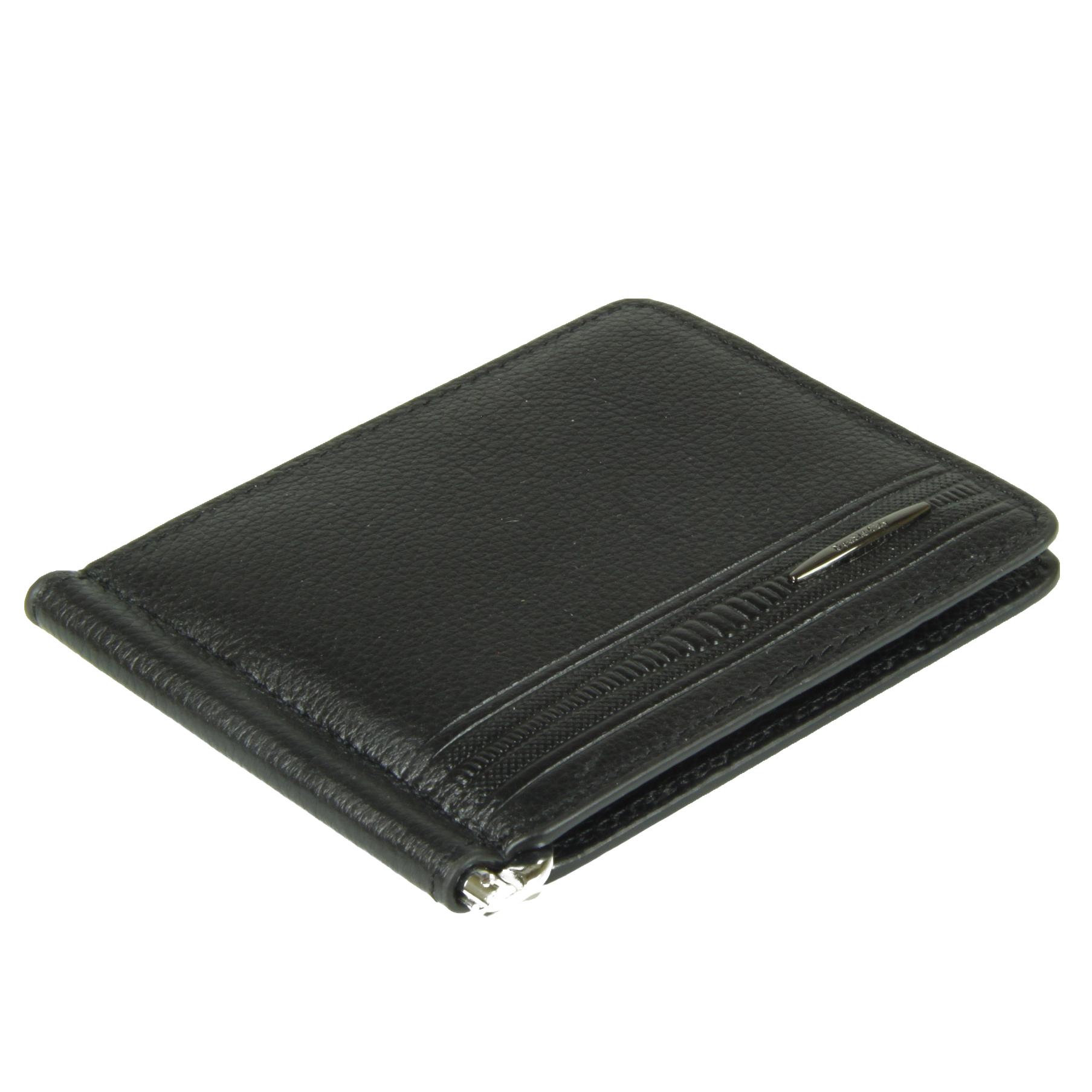 Мужской чёрный зажим для денег из натуральной и долговечной кожи яка с карманами для карт и мелочи Dublecity M100-DC11-11I