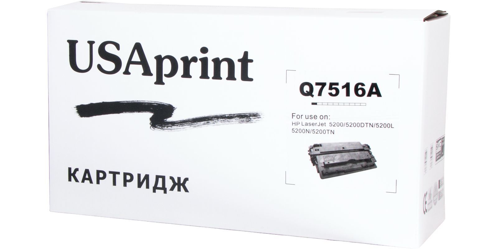 USAprint №16A/№70A Q7516A/Q7570A / CARTRIDGE-309/509/109/709, черный, для HP/Canon, до 15000 стр.