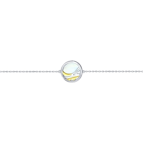 94050428 - Браслет из двухцветного серебра с круглой подвеской