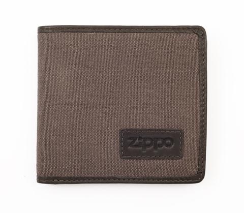 Портмоне Zippo, коричневое, натуральная кожа/холщовая ткань, 11×1,5×10,5 см