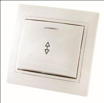 Выключатель на 2 направления 1 клав.с подсв.Таймыр белый