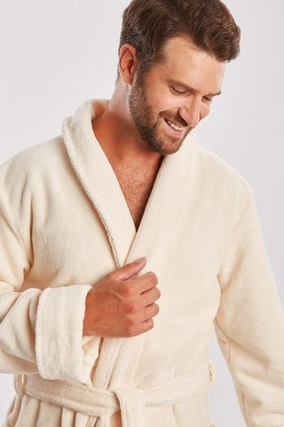 NATUREL 908 кремовый бамбуковый  мужской халат  PECHE MONNAIE  Россия