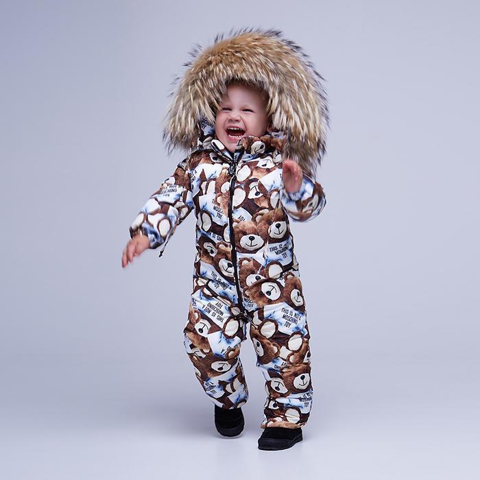 Дитячий зимовий комбінезон з принтом «Ведмедики» і опушкою з натурального хутра