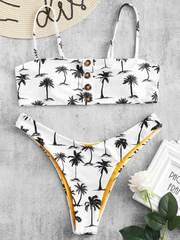 купальник раздельный бандо с лямками белый с пальмами 1