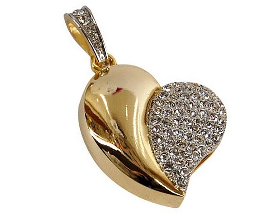 usb-флешка сердце золотое оптом