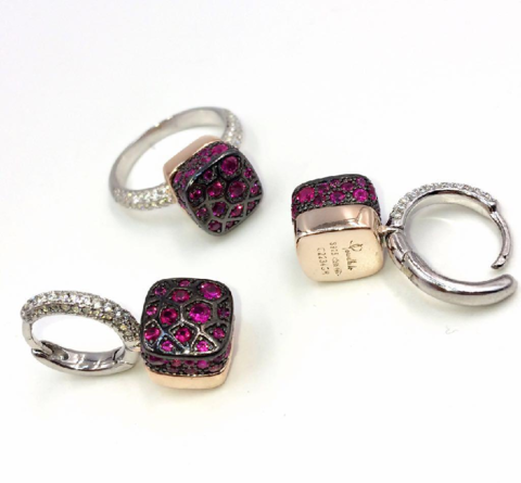 33361- Комплект украшений Caramel из серебра с рубиновыми фианитами