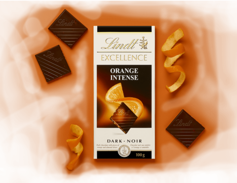 Lindt Excellence Orange ?ntense Chocolate, 100 gr
