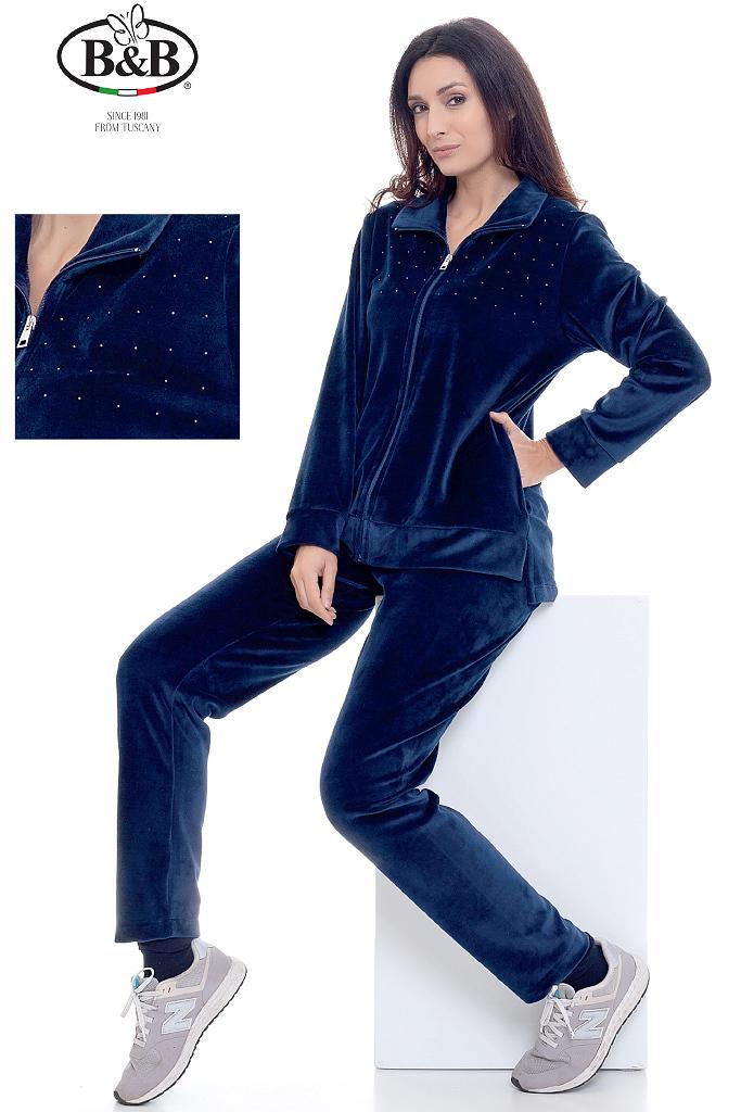 Велюровый домашний костюм со стразами B&B