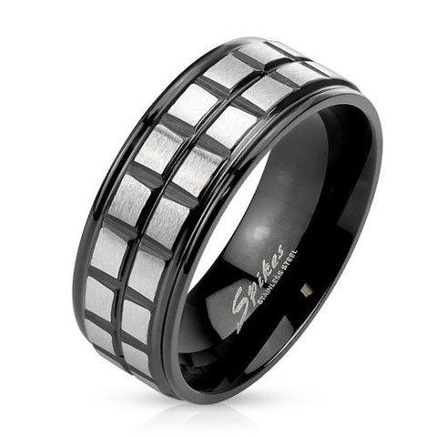 Кольцо мужское из нержавеющей ювелирной стали чёрное с клеточками SPIKES R-M3893
