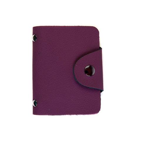 Визитница из натуральной кожи малиновая DoubleCity BC01 Purple