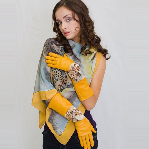 Перчатки Леопард  желтый PR-3