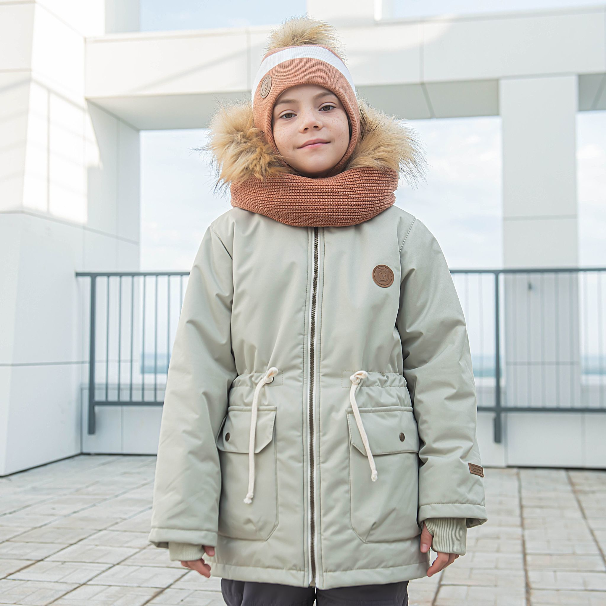 Winter membrane parka with fur for teens - Olive
