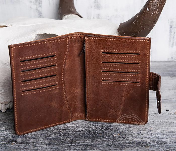 WL283-2 Крутое мужское портмоне ручной работы из кожи фото 06
