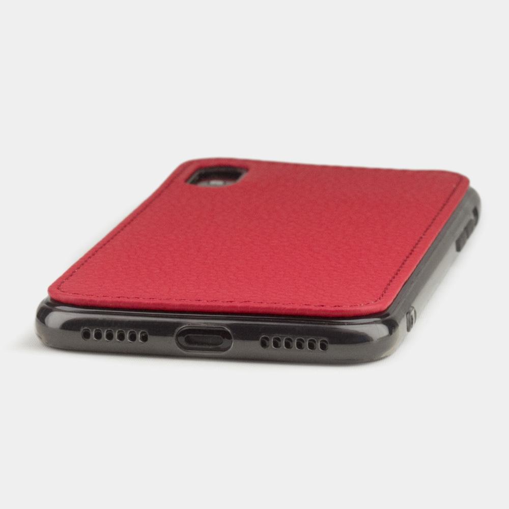 Чехол-накладка для iPhone X/XS из натуральной кожи теленка, красного цвета