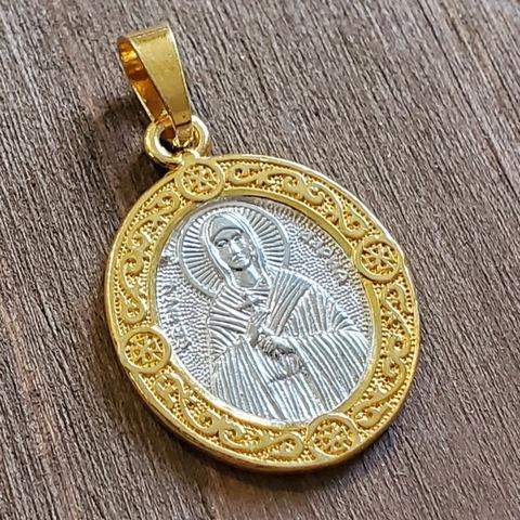 Нательная именная икона святая Дарья с позолотой кулон медальон с молитвой