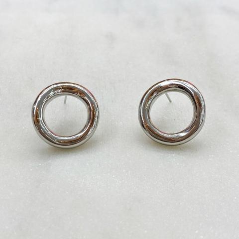 Серьги-кластеры круглые колечки (серебристый)