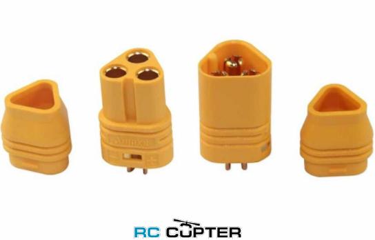Разъём AMASS MT60 (папа-мама) для подключения мотора с защитой провода от выдирания