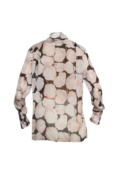 Изысканная шелковая блузка с цветочным принтом от Chanel, 36 размер