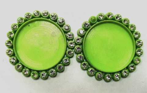 Основа для круглых кабошонов, размер 35х35. в 1 уп 2шт. Цвет зеленый. (2113)