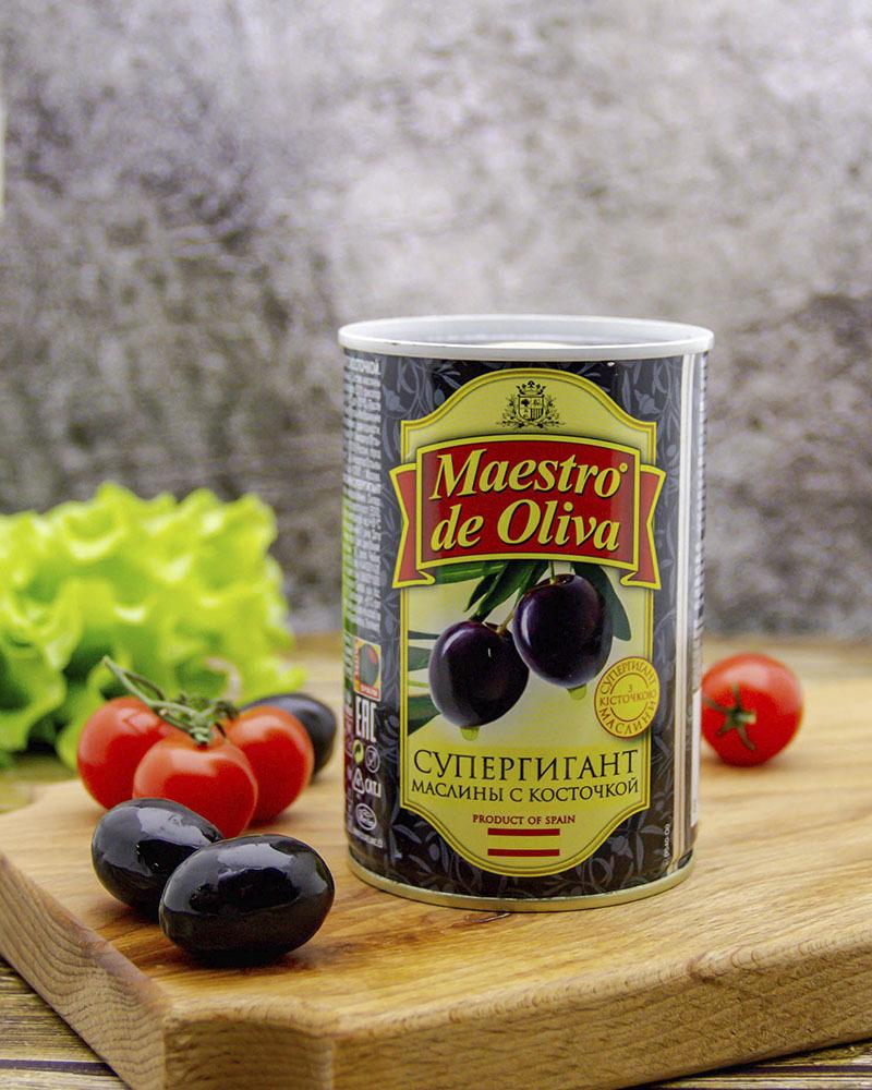 Маслины Maestro de Oliva Супергигант с косточкой 425 гр.