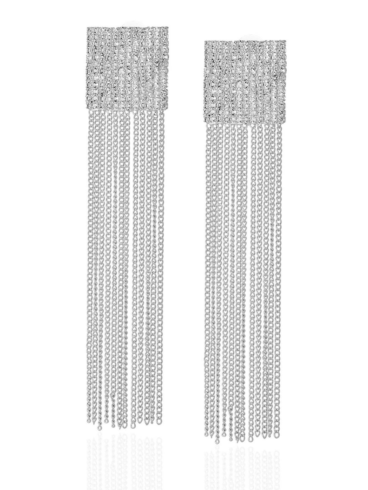 Вечерние длинные серьги с подвесками с фианитами в подарочной коробке
