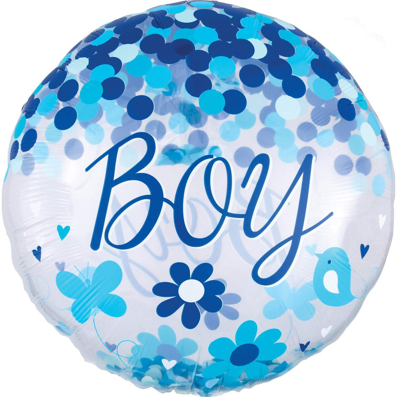 Шар с имитацией конфетти BOY выписка мальчик