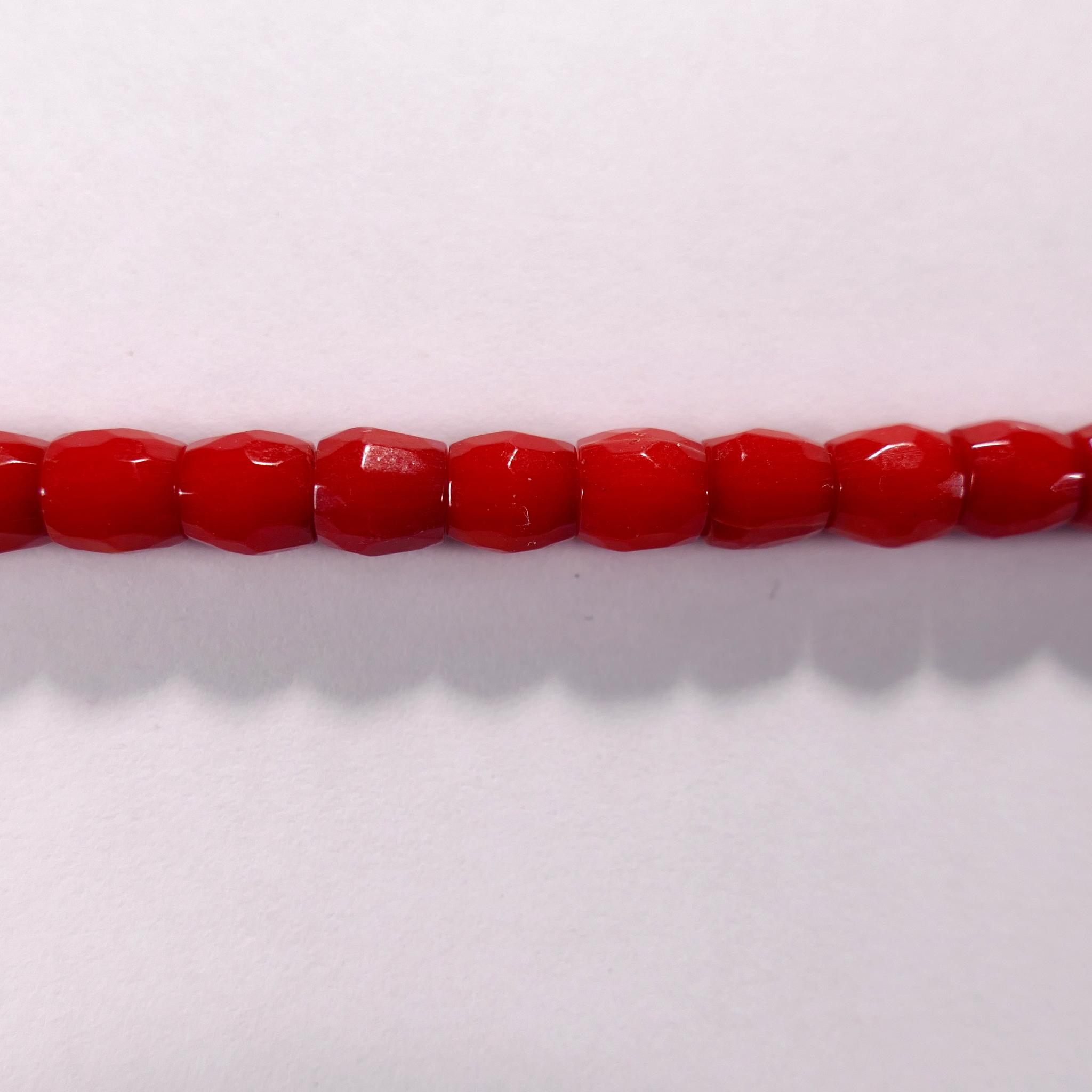 Бусина из коралла красного, облагороженного, фигурная, 6x6 мм (рондель-бочонок, граненая)