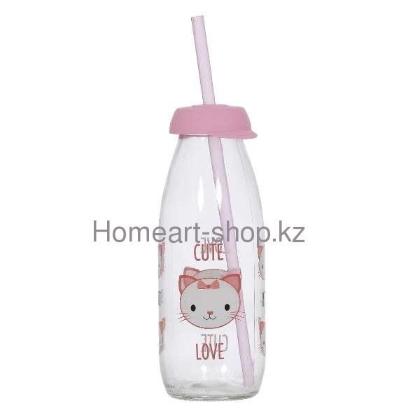 Бутылка детская с трубочкой cat 500 мл