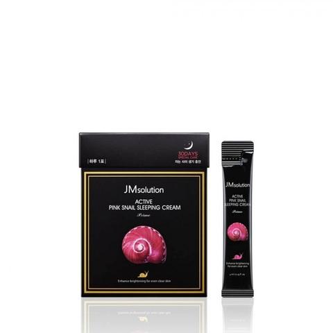 JMsolution Active Pink Snail Sleeping Cream Prime обновляющая ночная маска с муцином улитки