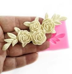 0859 Молд силиконовый. Розы с листьями.