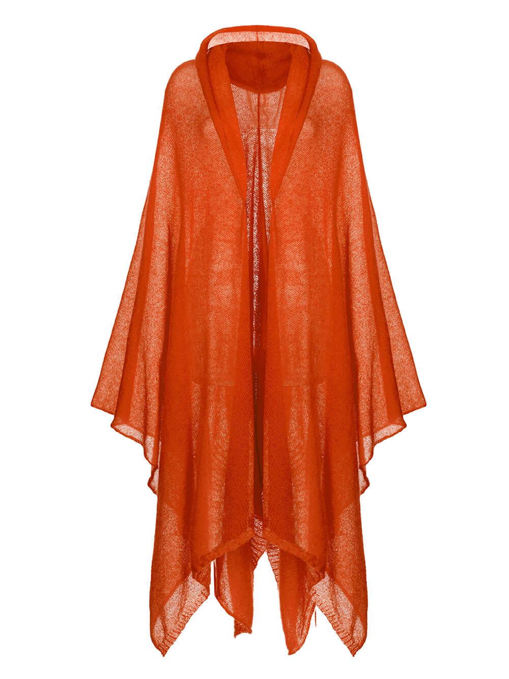 Женский шарф терракотового цвета из мохера и шерсти - фото 1