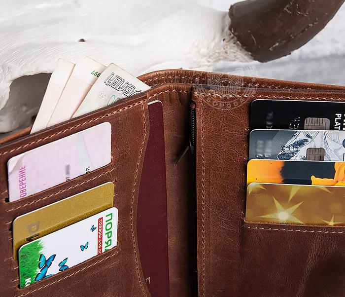 WL283-2 Крутое мужское портмоне ручной работы из кожи фото 09
