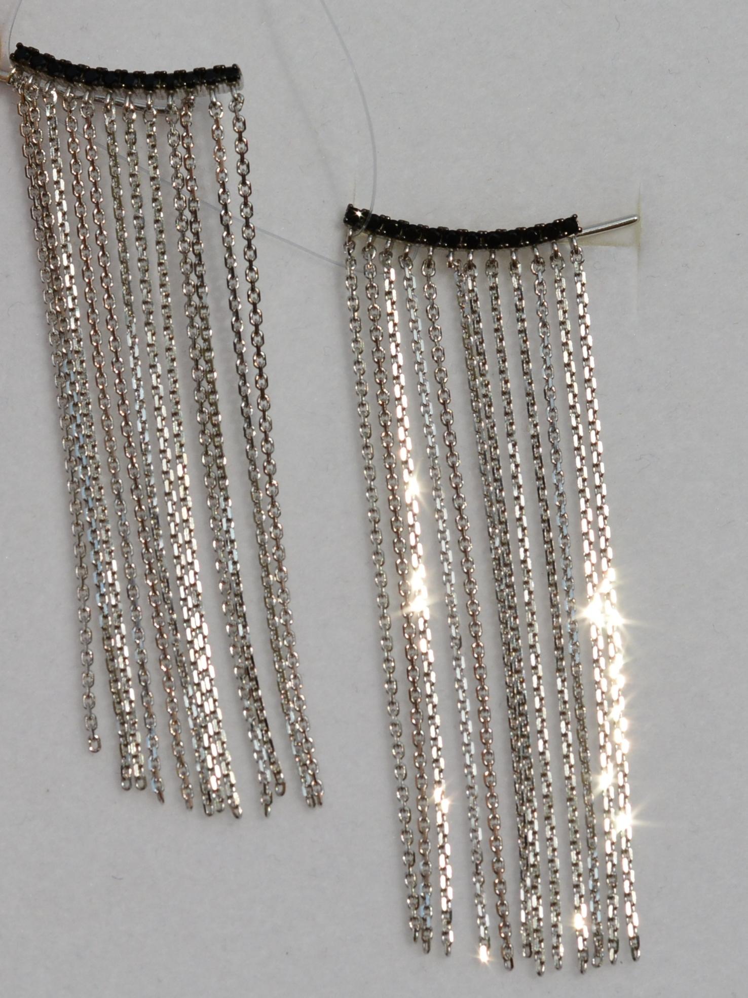 Каффы 6,0 черные (серебряные серьги)