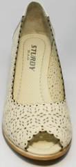 Кожаные туфли с открытым носком женские летние Sturdy Shoes 87-43 24 Lighte Beige.