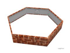 Клумба многоугольная оцинкованная 1 ярус Кирпич