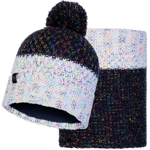 Комплект вязаный шапка-шарф Buff Knitted Polar Janna Night Blue фото 1