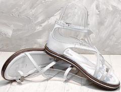 Красивые босоножки сандали женские кожаные Evromoda 454-402 White.